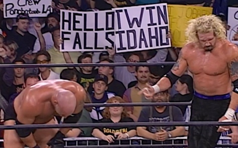 Goldberg and Diamond Dallas Page after their main event, which Goldberg won to improve his unbeaten streak to 155-0. But the main reason for this photo? The shoutout to the 208 right behind them. I see you, Twin Falls!