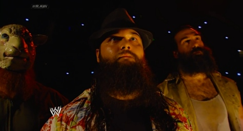 The Wyatt Family during RAW on April 14. Bray Wyatt accepted John Cena's challenge for a steel cage match at Extreme Rules, which Wyatt won.